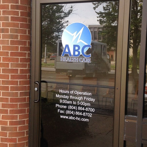 Custom Window Graphic-ABC Health Care-Charlottesville Va