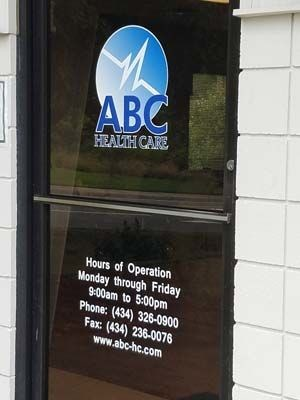 Window Decals for ABC Healthcare in Charlottesville, VA